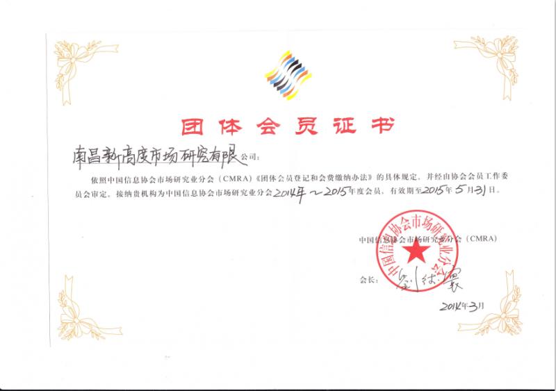 中国信息协会市场研究分会团体会员证书